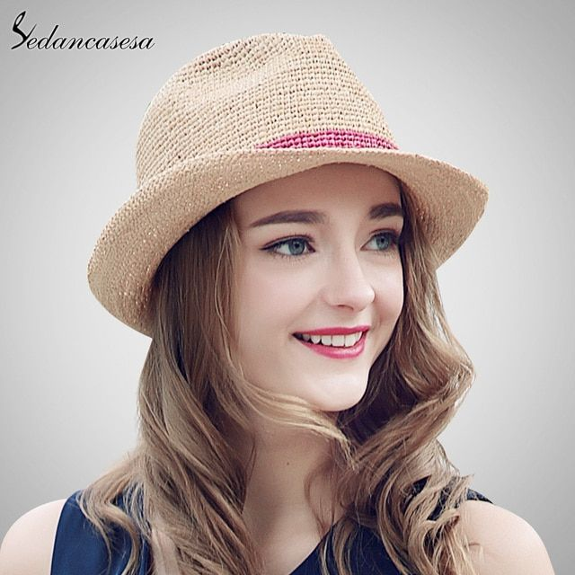 Sedancasesa Summer Hats Raffia Straw Hat for Women Beach Fedoras Casual Panama Sun Hats Jazz Caps Crochet Straw hat SM026070