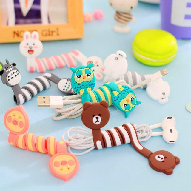 FFFAS Cartoon Stitch Panda Cable Winder Protector Wire Cord Organizer Protetor De Cabo for Apple IPhone 5 5S 6S 6 7 8 X Plus PC