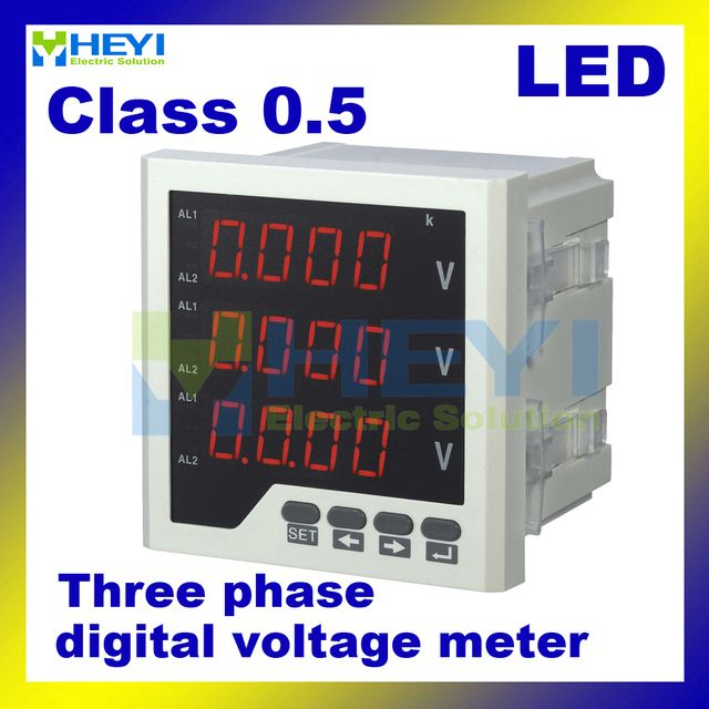 Three phase LED digital voltage meter AC voltage meter