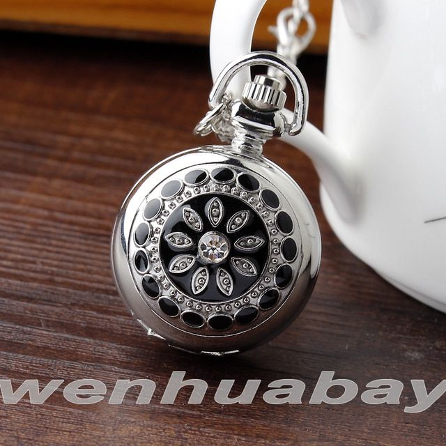 Fashion Unique Women Unisex Black Crystal Flower Necklace Pendant Chain Silver Small Quartz Pocket Watch Gift P205-1
