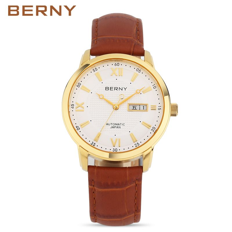 Berny Men Watch Automatic Mechanical Mens Watches Fashion Top Luxury Brand Relogio Saat Montre Masculino Erkek JAPAN MOVEMENT