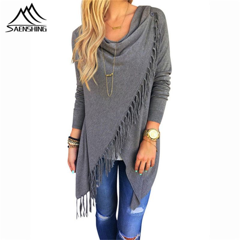 Autumn Cardigan Women Knitted Poncho Tops Casual Loose Ladies Long Sleeve Irregular Hem Tassel Cardigan Cape Cachemire Shawls