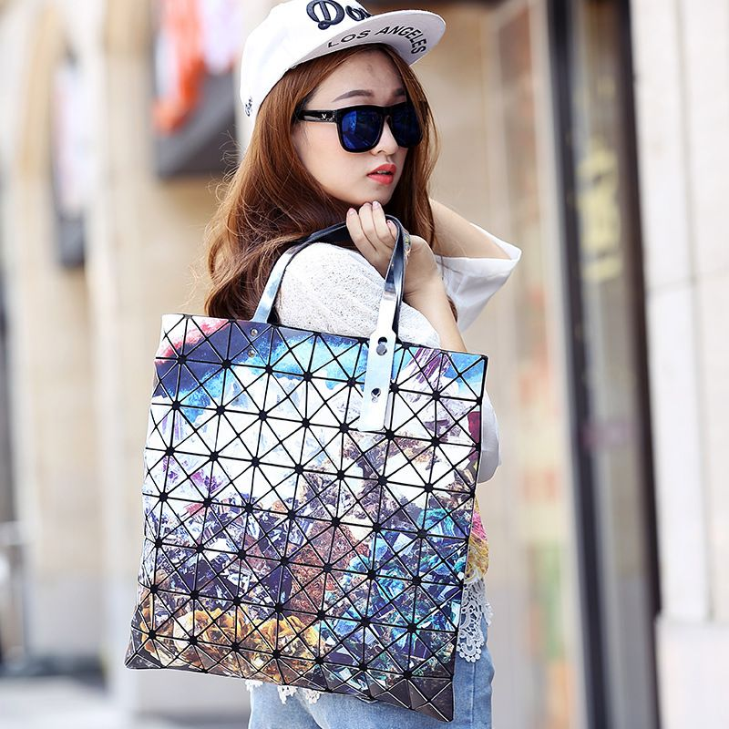 Aolen Fashion Brand Woman Geometry Plaid Top-handle Bags Designer Flower Handbags Goyar Vintage Tote Shoulder Bags High Quality