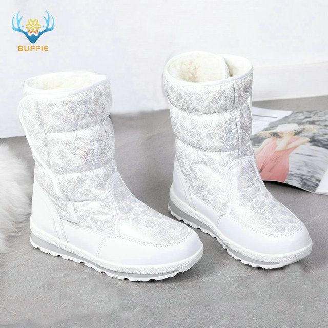 2018 Hot selling Winter Women snow boots Lady warm fake fur shoe female white Buffie brand fashionable boots anti-skid outsole