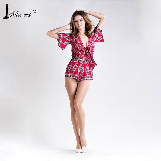 Free Shipping  Missord 2016 Sexy V-neck  Short sleeve  playsuit  FT5104