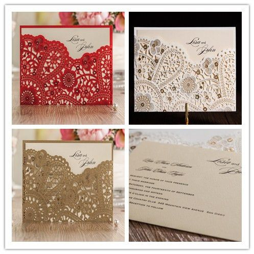 50pcs/set free envelop and free seal Gorgeous Lace Cut-out Wedding Invitation In Gold and red CW5262 CW5263 CW5181