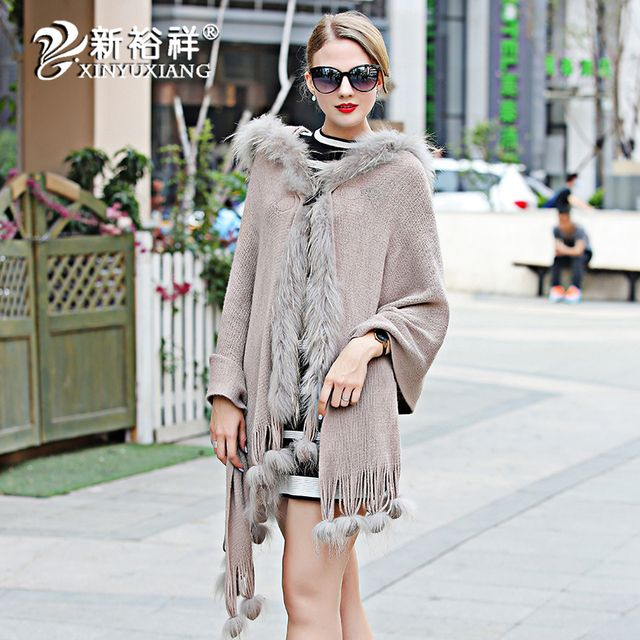 Luxury Spring real fox fur Knitted thin shawl Scarf women tassel Natural fur Hood Jacket Capes stole FUR COLLAR hair bulb Poncho