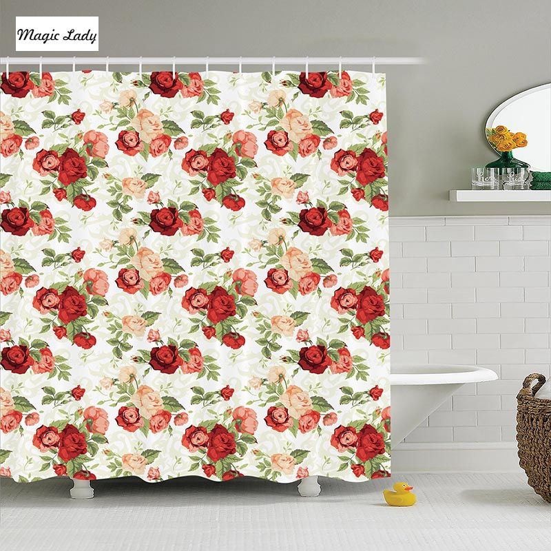 Shower Curtain Roses Bouquet Romance Holiday Love Anniversary Luxury Ornament Decorating Polyester Fabric Bathroom Red Green