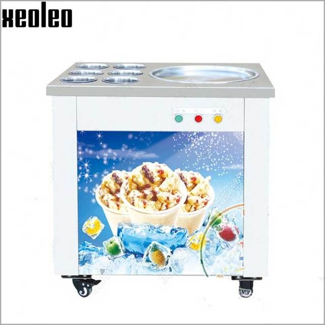 Xeoleo Commercial Ice Frying Machine Roll Ice Cream Maker 6 Barrels 48/50cm Diameter Roll Ice Cream Machine Double Compressor