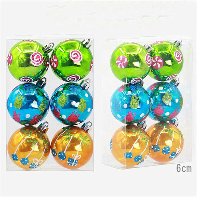 6Pcs/Lot Boxed Colorful Christmas Tree Ball Hanging Baubles Decoration for Xmas Party New Year Ornament Home Decor