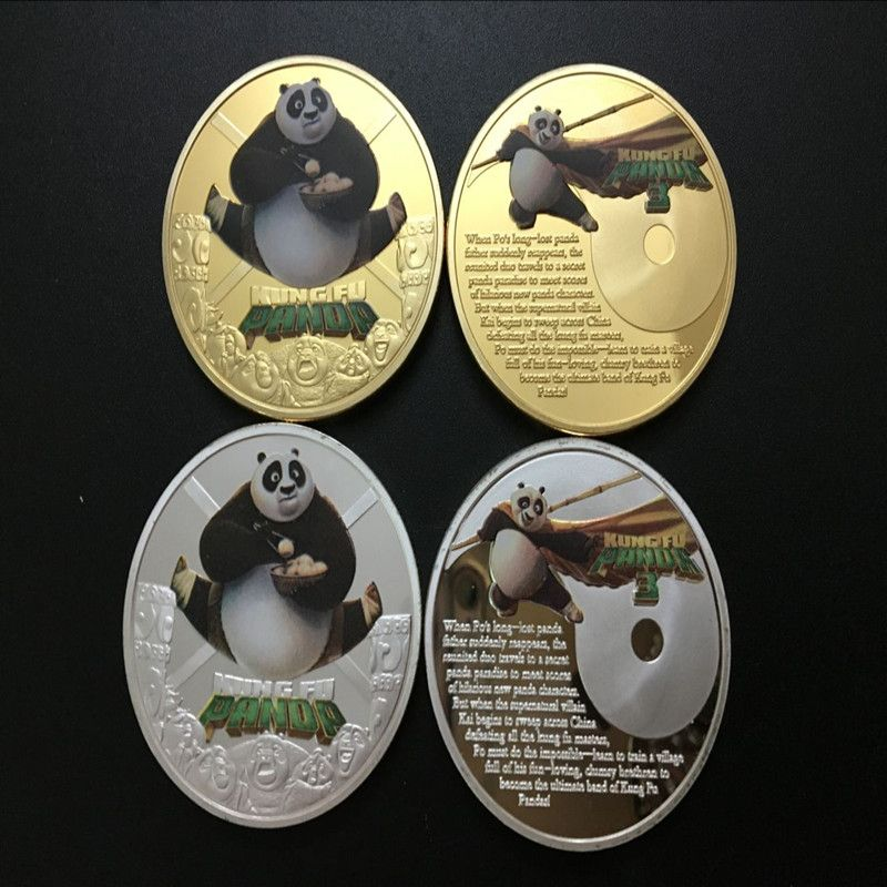 Mix 2pcs Hollywood Movie Amazing Movie Icon Kung Fu Panda Medallion Finished In 24k Gold Plated.999 Silver Coin.40mm