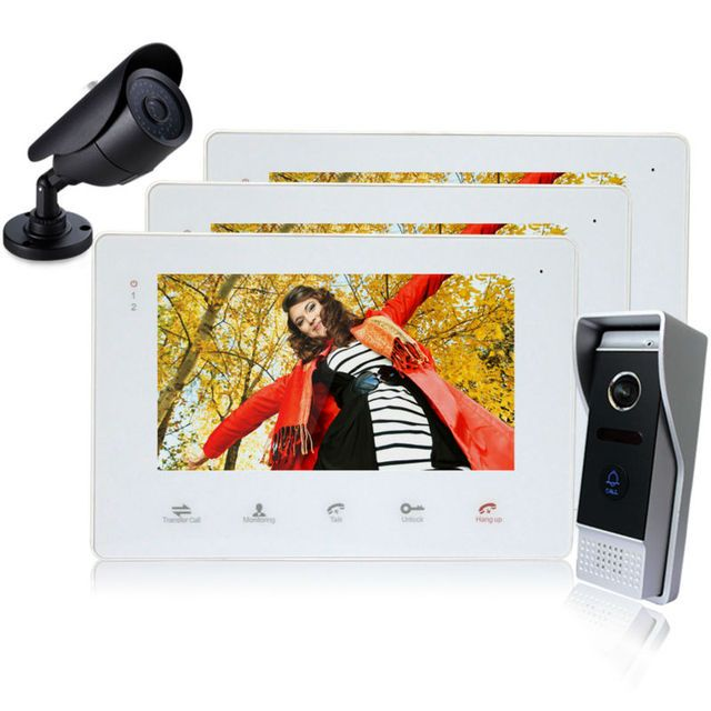 Homefong  7 Inch TFT Touch Screen Color Video Door Phone Cmos Night Vision Camera Intercom system 1 2 Door Bell Rings