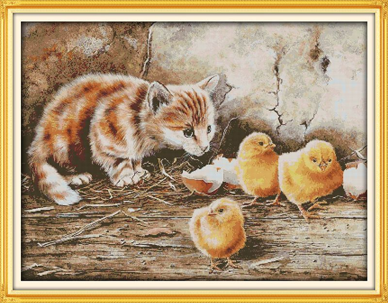 The curious cat  Counted Cross Stitch 11CT Printed 14CT Cross Stitch DIY Chinese Cotton Cross-stitch Kit Embroidery Needlework