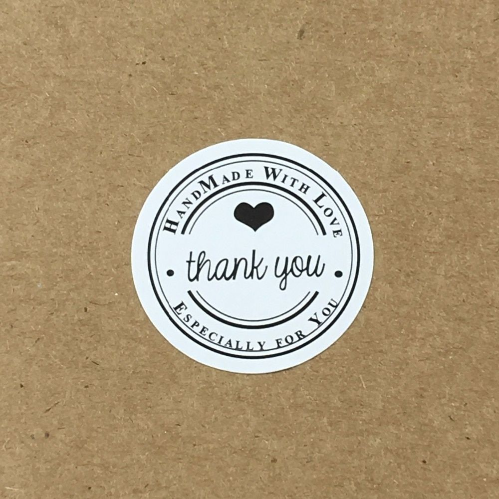 100PCS/Lot 3cm Round White Sticker Labels  Thank You labels Hand made Sealing adhesive labels
