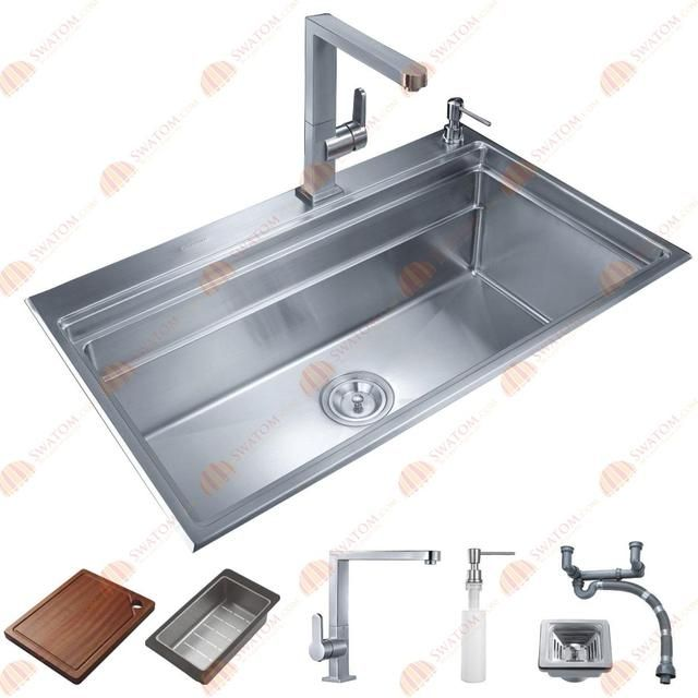 31-1/2-Inch 12mm-Thickness Stainless Steel Topmount Drop in Single Bowl Kitchen Sink Free Accessories