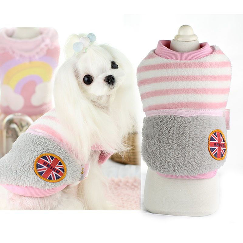 Cute strip winter warm fleece dog pet cat Coat jacket small Dog puppy hoodie clothing for pet small dog Chihuahua clothes