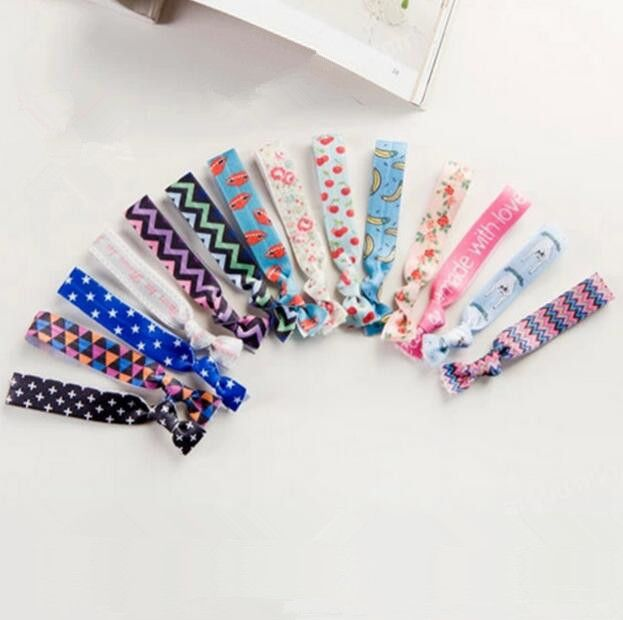 2000pcs  Knot Tug Pink Blue Elastic Bracelet PonyTail Holders Scrunchies Hair Tie Free Shipping