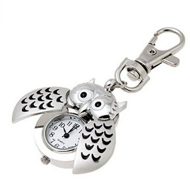 Excellent New Design Womens Mini Metal Key Ring Owl Double Open Quartz Watch Clock- Silver For Christmas Gift Relojes Mujer