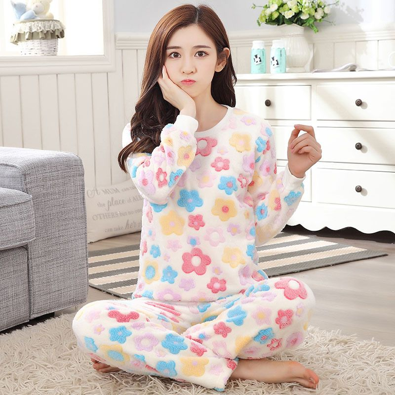 Winter Women Nightwear Korean Thicken Floral Pijamas Sets Female Flannel Star Letter Long Sleeve Pyjama Sleepwear Sleepsuit