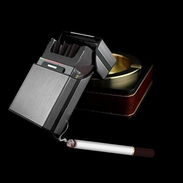 Gray Aluminum Metal Cigar Cigarette Box Holder Pocket Tobacco Storage Case
