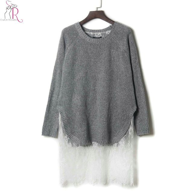 Grey Knitted Lace Panel Eyelash Longline Sweater Dress Long Sleeve Fake Two Piece Loose Casual Round Neck Spring Autumn Pullover