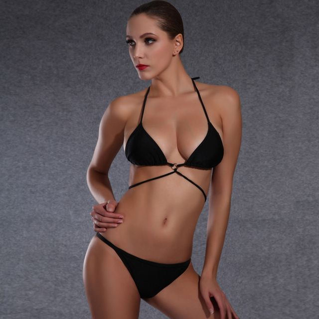 Women's Sexy Brazilian Bikini Mini Black Bandage Swimming Suit for Women Strappy Padded Halter Swimwear Beachwear Bather Biquini