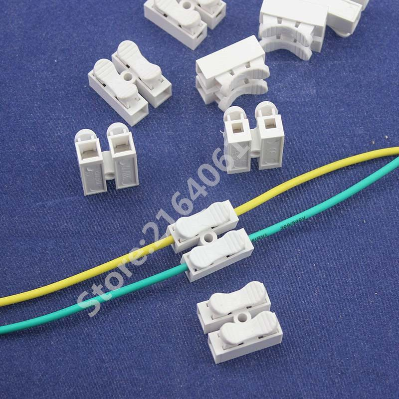50pcs 2p Spring quick Connector wire conneting Easy to install no welding no screws cable clamp Terminal Block 2 Way for LED