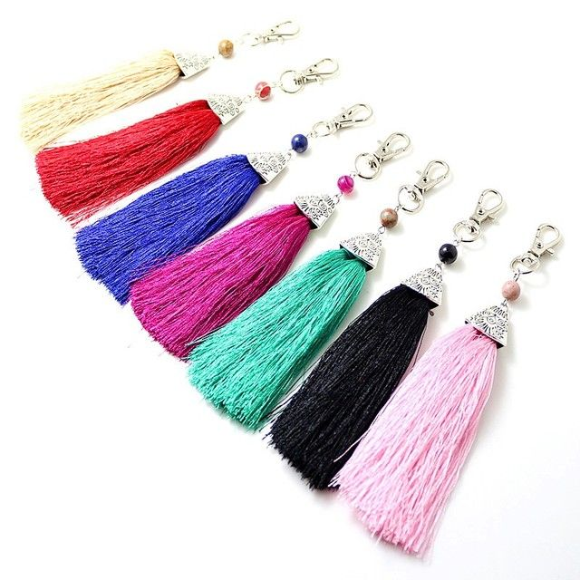 new natural stone bead tassel multi color keyring fashion jewelry keychain for women gift