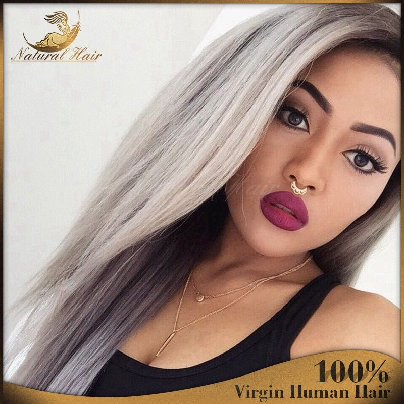 2016 New Fashion virgin brazilian glueless ombre grey lace front wig two tone gray human hair full lace wigs fast shipping