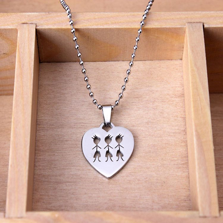 SkyHai Jewelry Family Necklace Stainless Steel Best Friend Necklace Three Brothers Heart Sharped Pendant Necklace