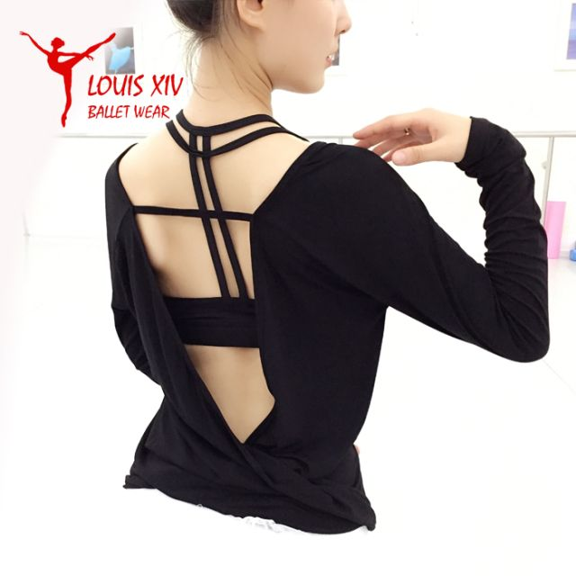LOUIS XIV Woman's Long Sleeve Backless Warm-up Ballet Tops
