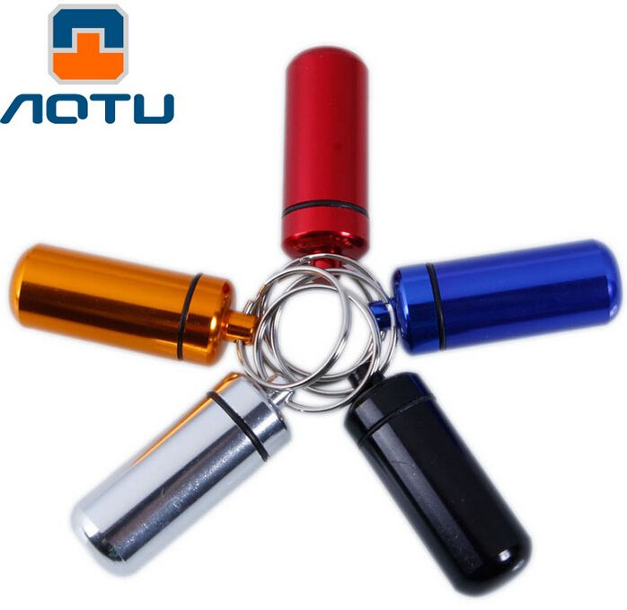 AOTU Outdoor Travel Kit Keychain Alloy Tablet Pill Medicine Box Case Bottle Holder Container Key Chain 269