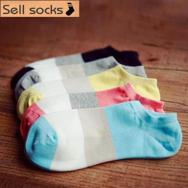 brand new summer women colorful wide Stripes breathable Casual  ankle cotton socks boat sock slippers EUR35-40