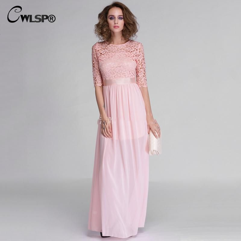 CWLSP Hot Sale Women Elegant Lace Long Maxi Dresses Hollow Out Chiffon Half sleeve Evening Wedding Party Dress Plus size 3XL