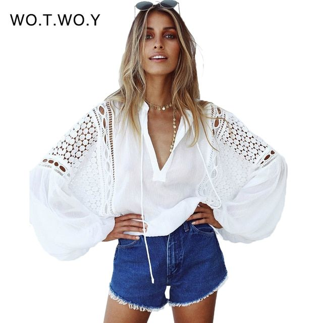 Deep V Loose Patchwork White Lace Blouse Women Hollow Out Lantern Long Sleeve Shirt Women Casual Chiffon Blouse Femme T705