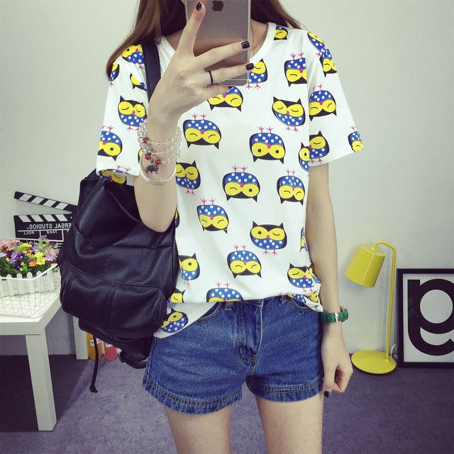 2016 Women's T-Shirt Summer Style Bottoming Unique Birds Printed Fashion Clothes O-neck Dots Short Tops Size M-XXL Free Shipping