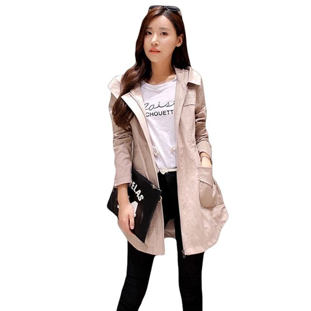 Autumn And Winter Windbreaker For Women Trench Coat Hooded Cotton Long Casual Female Spring Coat Khaki Green Pink Rose Red S-XL