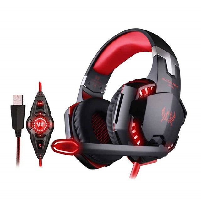 EACH G2200 Game Headphone Vibration 7.1 USB Surround Sound Gaming Headset Earphone casque with Mic LED Light for PC Gamer PS4