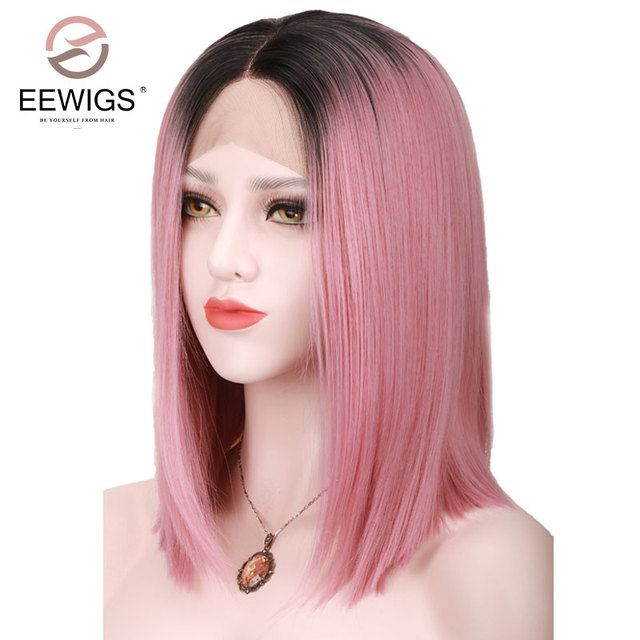 Black Ombre Wig Pink Straight Synthetic Lace Front Wigs Short Bob Wig for Women High Temperature Hairstyle Natural Afro Shoulder