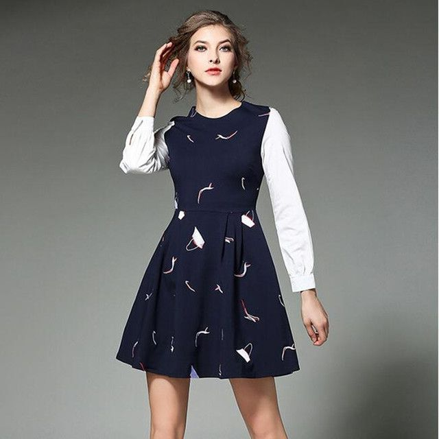 New Brocade Navy Blue Embroidery Dress Spring 2017 Vestidos Ukraine Woman Dress Kendall Jenner Robe Hiver Robe Femme 508580