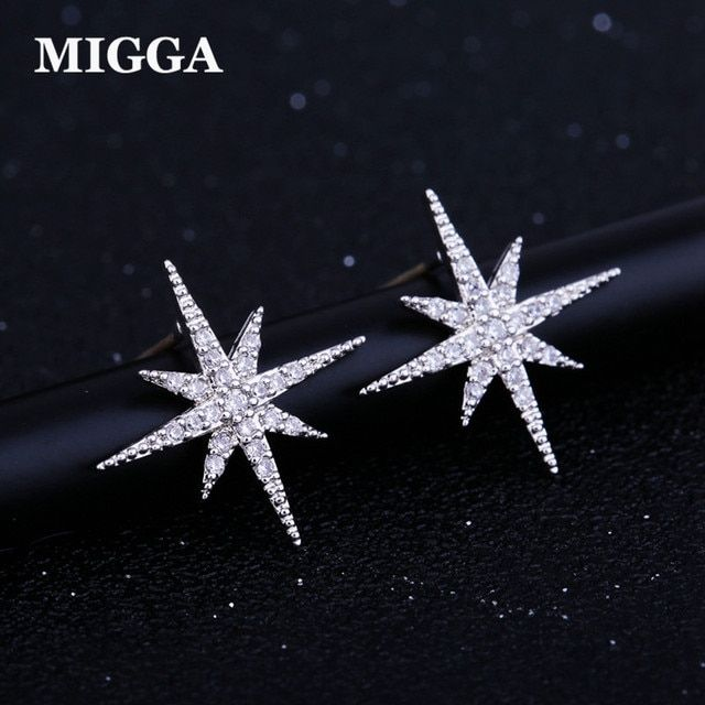 MIGGA Delicate Cubic Zirconia Star Earrings Fashion Women Jewelry White Gold Color Crystal Stud Earrings
