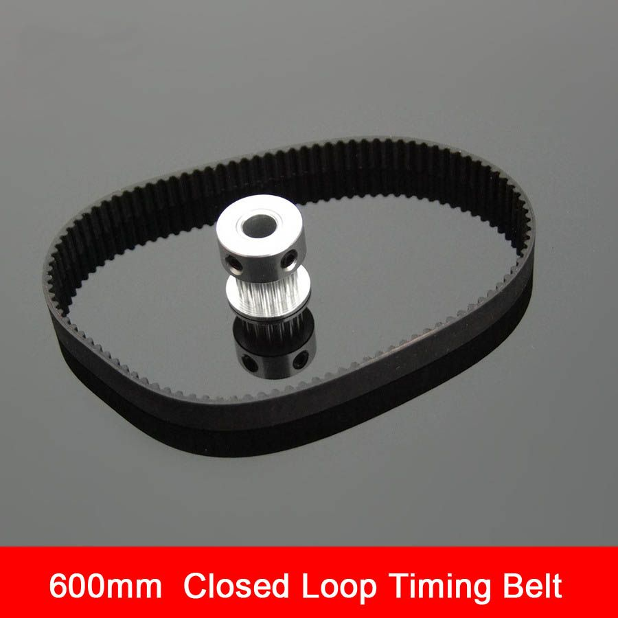 Black Rubber 2GT-6 600mm Perimeter Timing Belt 6mm Width Closed Loop Synchronous Belt Transmission Accessories