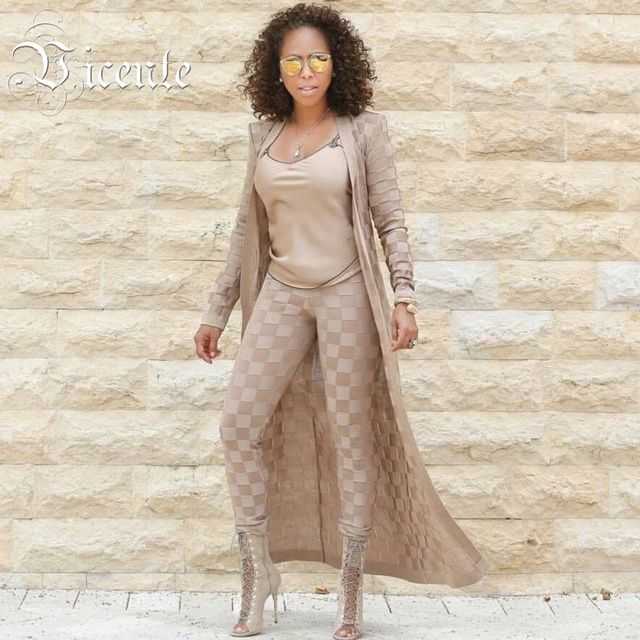 Free Shipping! 2016 New Hot Stunning Sexy Plaid Pattern Heavy Jacquard with Belt Two Pieces Set Celebrity Jacquard Bandage Set