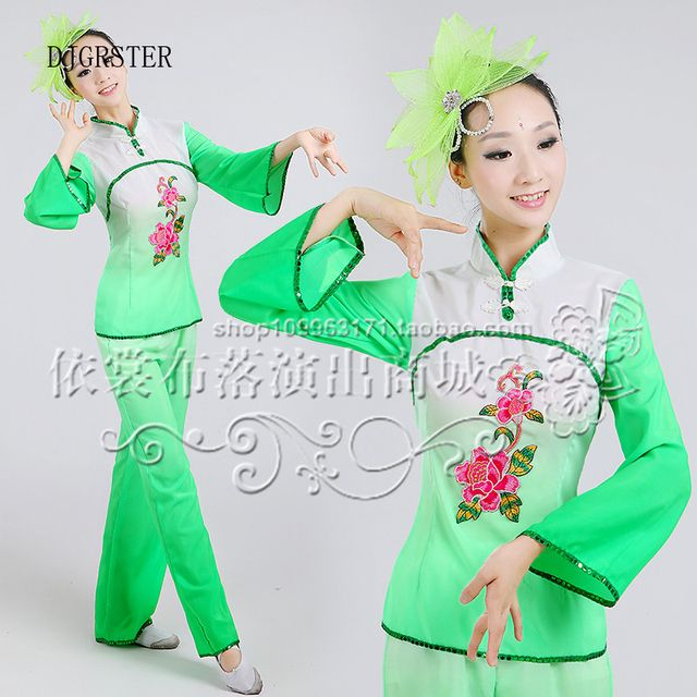 DJGRSTER  Ancient Traditional Chinese Costume Chinese Fan Dance Costume Women Chinese Traditional Costume Folk Dance Costumes