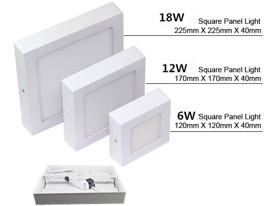 6W 12W 18W Square Led Panel Light Surface Mounted Downlight lighting Led ceiling down AC85-265V + Driver