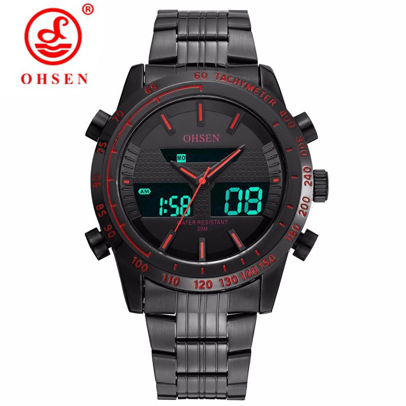 OHSEN Mens Sport Military Watches Men Waterproof LED Analog Digital Quartz Army Sports Wristwatch Stainless Relogio Masculino