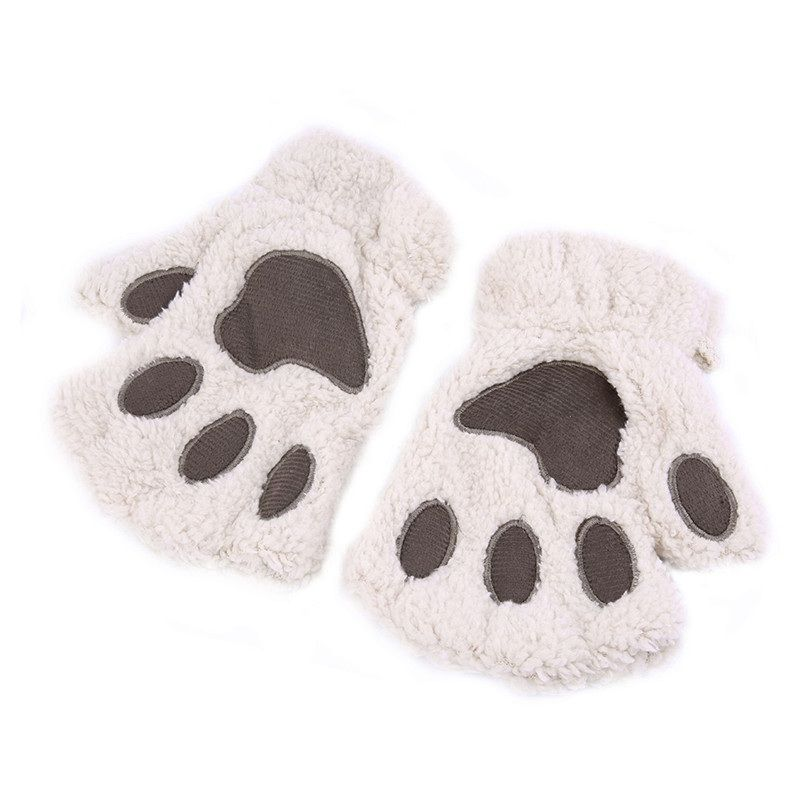 2016 Fluffy Bear/Cat Plush Paw/Claw Glove Novelty Halloween Soft Toweling Half Covered Women's Gloves Mittens