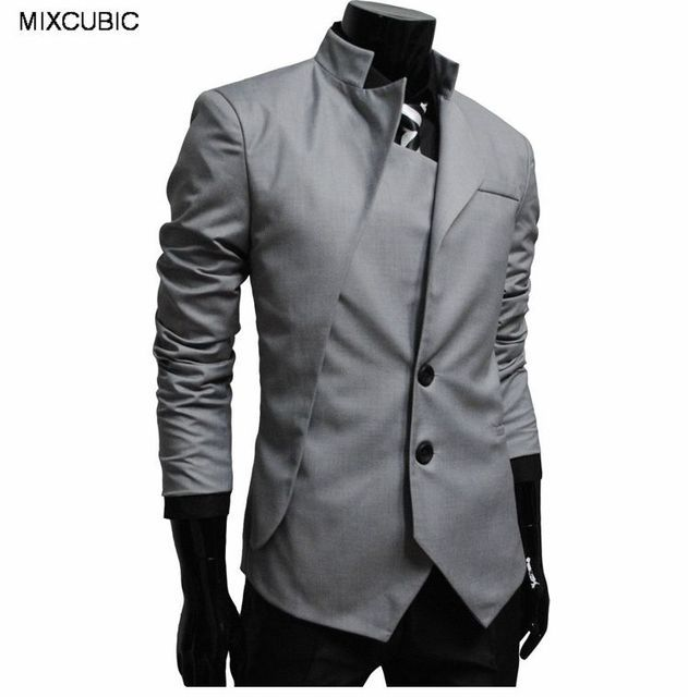 MIXCUBIC fashion spring Autumn England style Asymmetrical design suit men Business casual Slim fit stand suit for men M-XXL