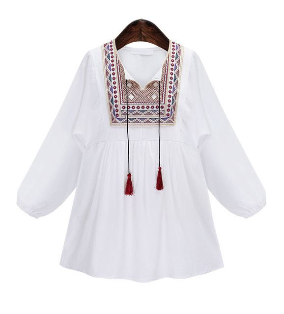 2017 Vintage Women Ethnic Embroidered Boho Hippie Peasant Mexican Loose Blouse Gypsy Tops Blouse Blusa Femininas