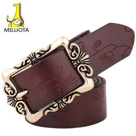 [MILUOTA] 2015 women belts luxury brand 100% Genuine leather belts for women Vintage metal pin buckle women wide belt WND1101